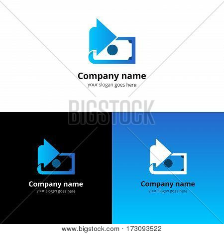 Money, finance, transfer converter logo design. Creative symbol template for banking or investment business with trend blue gradient color. Dollar with arrow icon design.
