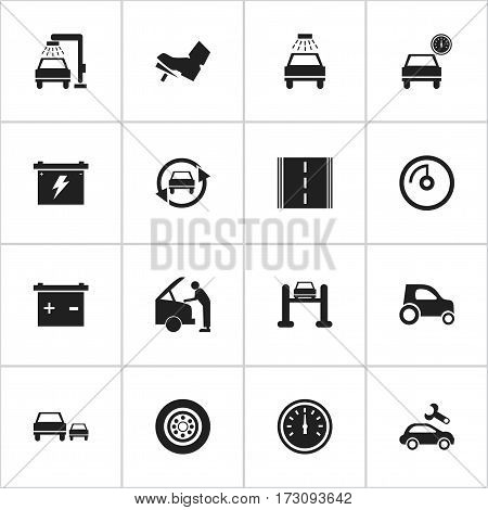 Set Of 16 Editable Transport Icons. Includes Symbols Such As Vehicle Wash, Auto Service, Speed Display And More. Can Be Used For Web, Mobile, UI And Infographic Design.