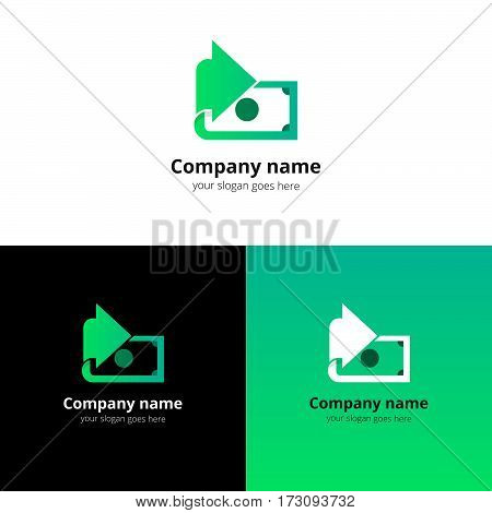 Money, finance, transfer converter logo design. Creative symbol template for banking or investment business with trend light green gradient color. Dollar with arrow icon design.