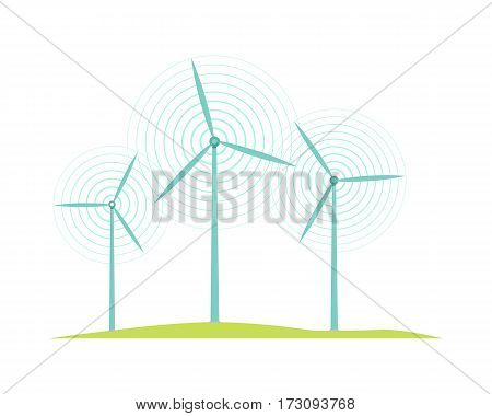 Windmill icons isolated on white. Flat design style. Mill converts energy of wind into rotational energy by means of vanes called sails or blades. Wind turbines used to generate electricit. Vector