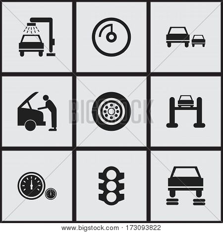 Set Of 9 Editable Vehicle Icons. Includes Symbols Such As Race, Car Fixing, Speed Display And More. Can Be Used For Web, Mobile, UI And Infographic Design.
