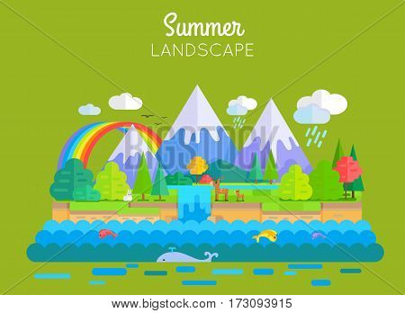 Summer landscape vector. Flat style. Illustration of nature with snow-capped peaks, animals, forest, waterfall, rainbow, sea. Banner for summer vacation, ecological, concepts and web page design.