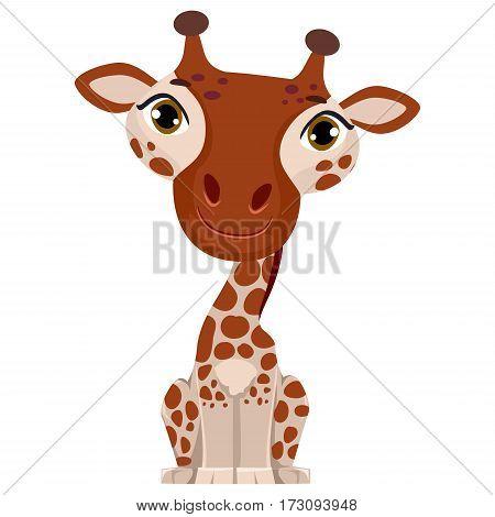 Vector Illustration of a cute cartoon Giraffe
