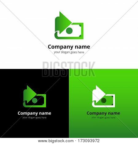 Money, finance, transfer converter logo design. Creative symbol template for banking or investment business with trend green gradient color. Dollar with arrow icon design.
