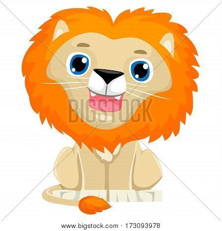 Vector Illustration of a Cute Lion Cartoon