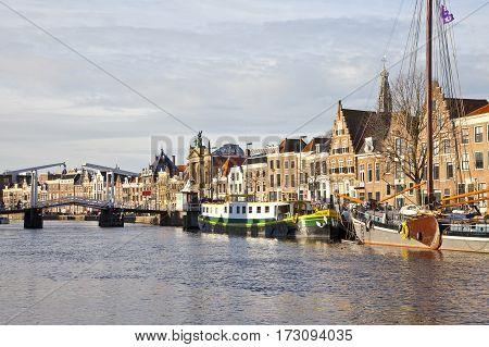 HAARLEM THE NETHERLANDS - December 19 2011: Beautiful skyline with old historical buildings in Haarlem The Netherlands