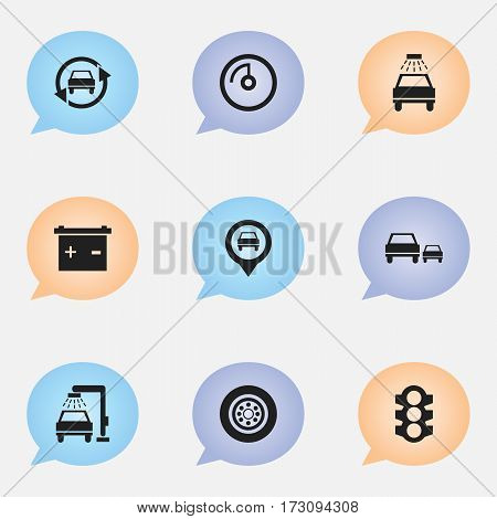 Set Of 9 Editable Traffic Icons. Includes Symbols Such As Pointer, Vehicle Wash, Tire And More. Can Be Used For Web, Mobile, UI And Infographic Design.