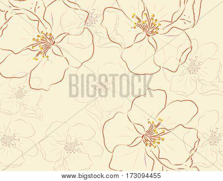 Vector Hand Drawn Floral card for your design. Vector Illustration.
