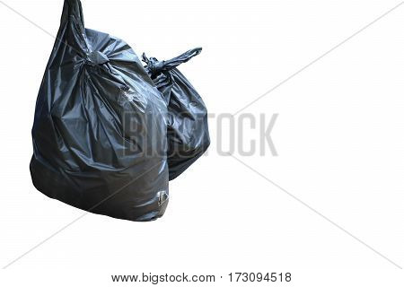 black garbage bag isolated on white background and clipping path