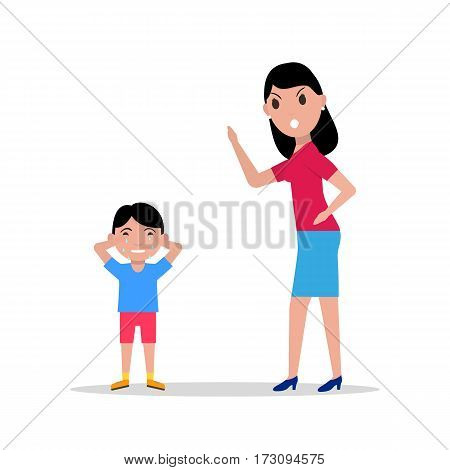 Vector illustration cartoon mother scolding her child. Isolated white background. Woman anger at boy. Concept children upbringing. Flat design. Angry mother and son crying. Mom scold kid.