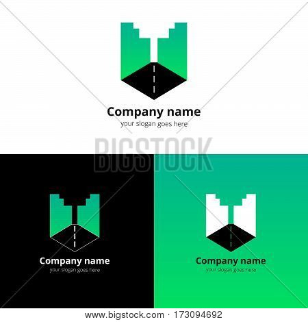 City, town, buildings, industrial symbol in the letter U. Logo, icon, sign, emblem vector template. Abstract symbol and button with green gradient for business, buildings, town firm or company.