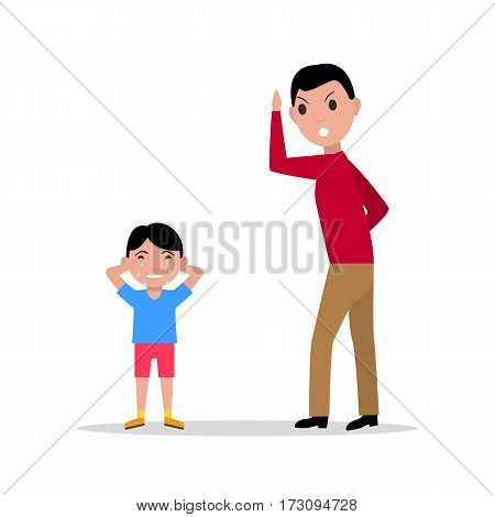 Vector illustration cartoon father scolding her child. Isolated white background. Man anger at boy. Concept children upbringing. Flat design. Angry father and son crying. Dad scold kid.