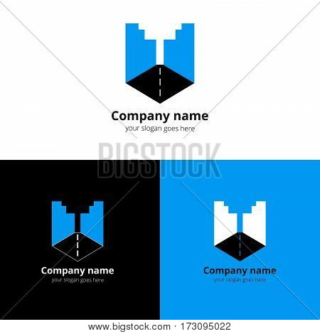 City, town, buildings, industrial symbol in the letter U. Logo, icon, sign, emblem vector template. Abstract symbol and button with flat blue for business, buildings, town firm or company.