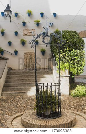 CORDOBA, SPAIN - JULY 19, 2016: Cordoba (Andalucia Spain): court (patio) of a historic typical house with plants and flowers
