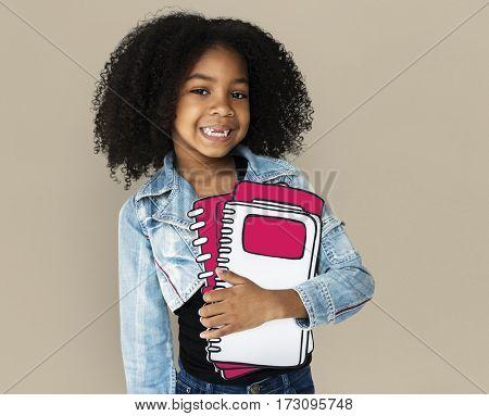 Little Girl Holding Books