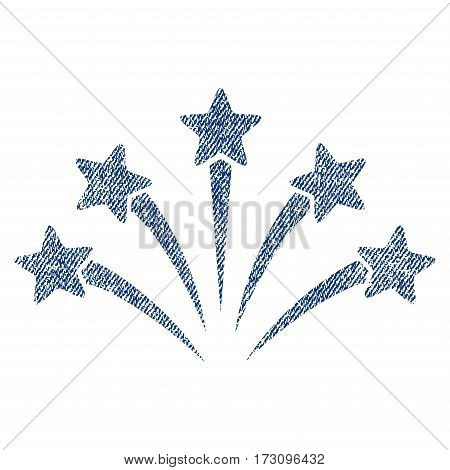 Fireworks Burst vector textured icon for overlay watermark stamps. Blue jeans fabric vectorized texture. Symbol with scratched design. Blue ink rubber seal stamp with fiber textile structure.