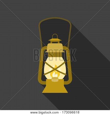 vintage hurricane lantern icon, flat design with long shadow