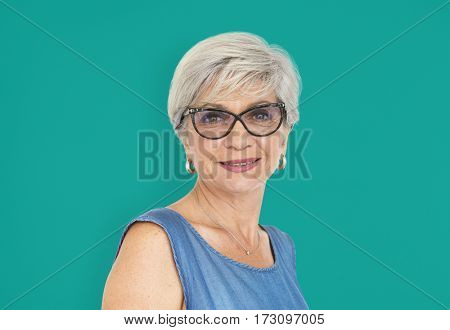 Mature Lady Cheerful Happy Glasses Concept