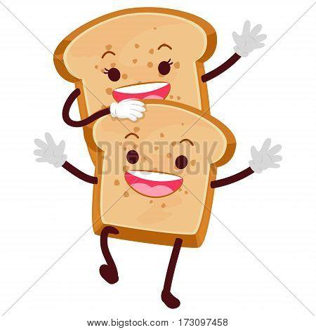 Vector Illustration of Two Bread Loaf Mascot