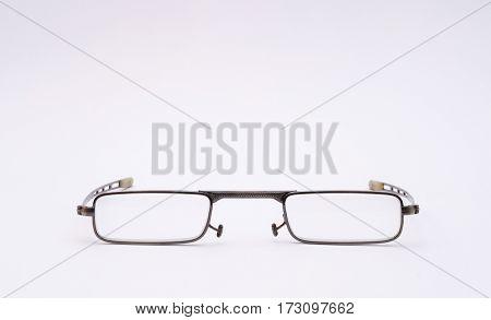 eyeglasses on a white background close up