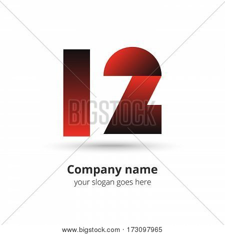 12 logo vector year concept. Anniversary number one two,1 and 2. Monogram numbers twelve celebrating. Logotype with red gradient color.