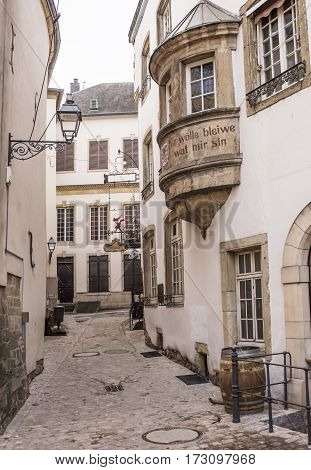 Grand Duchy of Luxembourg Luxembourg- January 032017: Street view of Luxembourg City