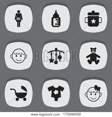Set Of 9 Editable Infant Icons. Includes Symbols Such As Pregnancy, Nursing Bottle, Merry Children And More. Can Be Used For Web, Mobile, UI And Infographic Design.