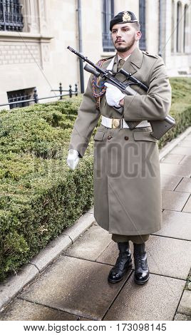Grand Duchy of Luxembourg Luxembourg- January 032017: The guard goes to the post
