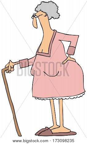 Illustration of an old lady with a cane and a sore back.