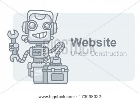 Vector Illustration, Concept Website Under Construction Robot Holding Wrench, Format EPS 10
