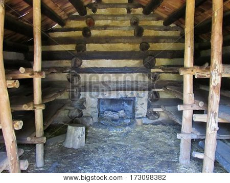 log cabin interior rustic cottage wooden structure