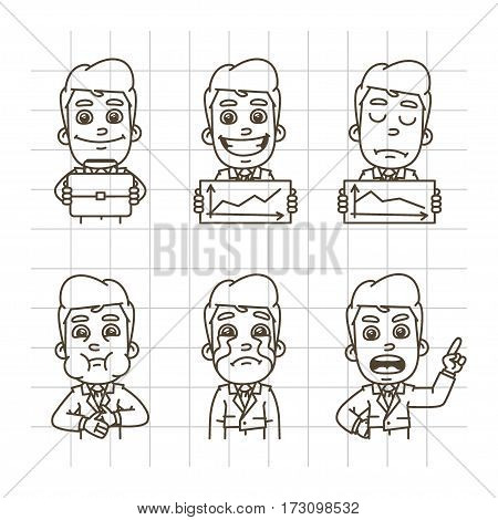 Vector Illustration, Businessman Holding Briefcase, Graphics, Glad, Upset, Crying, Nausea, Format EPS 10