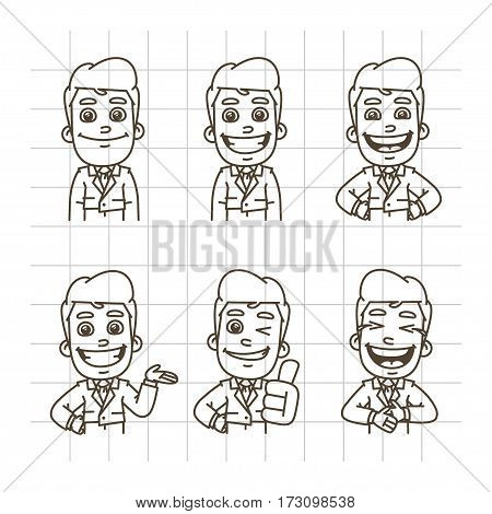 Vector Illustration, Businessman Holding Smiling, Laughing, Showing Thumbs Up, Indicating, Format EPS 10