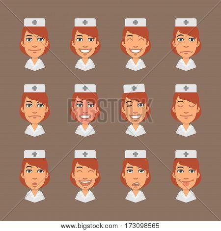 Vector Illustration, Set Emotions Nurse, Format EPS 10