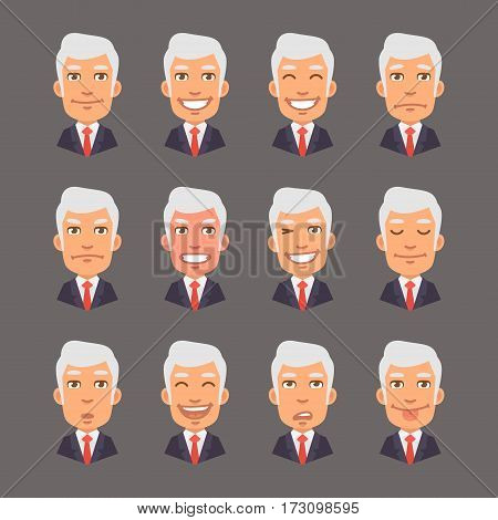 Vector Illustration, Set Emotions with Gray Hair Businessman, Format EPS 10