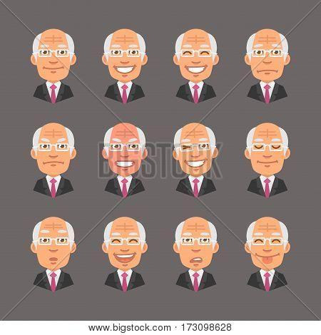 Vector Illustration, Set Emotions Old Businessman, Format EPS 10