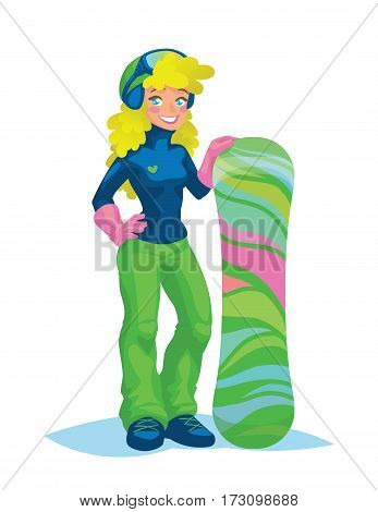 Happy snowboarder girl in snowborder equipement and helmet with glasses holding her snowboard. Blonde young girl with charming smile and blue eyes standing with snowboard in flat cartoon style. Vector illustration.