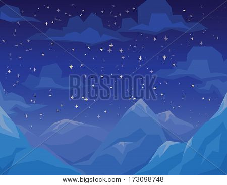 Winter scene with mountains landscape, night starry sky and clouds. Vector illustration in faceted flat style. Background for your artworks, design and prints. Snowy mountains in night.