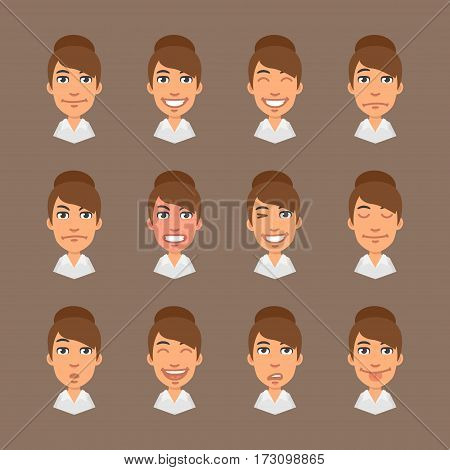Vector Illustration, Set Emotions Business Woman, Format EPS 10