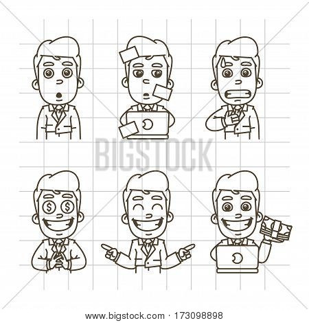 Vector Illustration, Businessman Holds Surprised Face, Scared, Glad, Working with Laptop, Holding Money, Format EPS 10