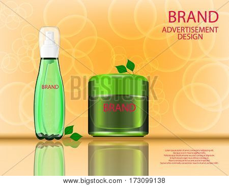 Facial Cream and Serum with Aloe Vera Extract for Skin on the sparckling Background Concept Skin Care Cosmetic. Mock-ups of glass container and cream jar. Blank template of packaging for cosmetic product.