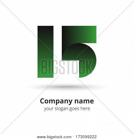 15 logo vector year concept. Anniversary number one five,1 and 5. Monogram numbers thirteen celebrating. Logotype with green gradient color.