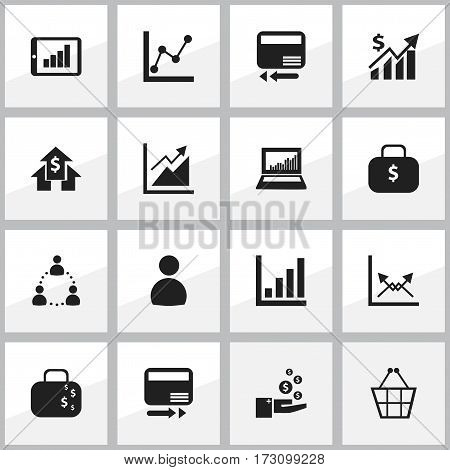 Set Of 16 Editable Statistic Icons. Includes Symbols Such As Graph Information, Transmission, User And More. Can Be Used For Web, Mobile, UI And Infographic Design.