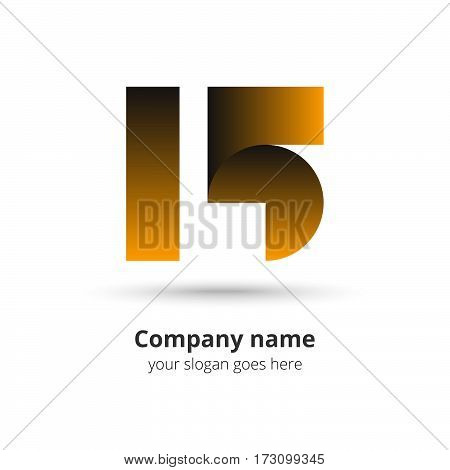 15 logo vector year concept. Anniversary number one five,1 and 5. Monogram numbers thirteen celebrating. Logotype with gold gradient color.