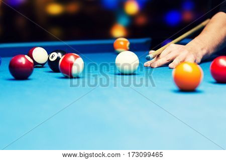 bar games - pool billiard. aiming the cue ball