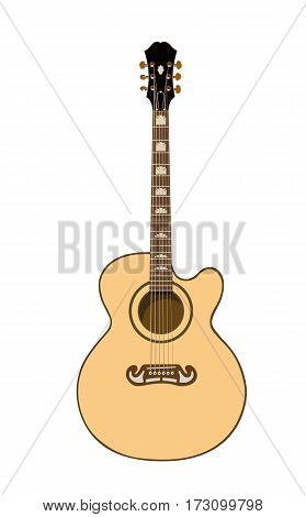 Beautiful acoustic guitar in color on a white background