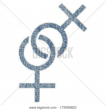 Lesbian Love Symbol vector textured icon for overlay watermark stamps. Blue jeans fabric vectorized texture. Symbol with dirty design. Blue ink rubber seal stamp with fiber textile structure.