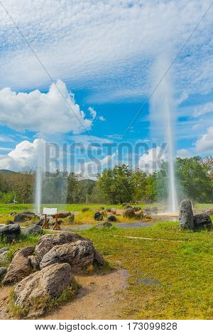 Hot Spring Fountain With Blue Sky.