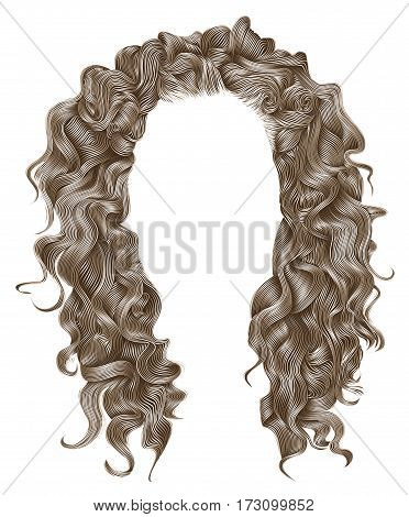 long curly hairs  light blond  colors .  beauty fashion style . wig .