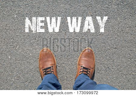 Feet on the street with text NEW WAY